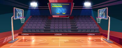 Empty basketball court cartoon vector illustration. Basketball court with wooden floor, scoreboard on ceiling and empty fan sector seats cartoon vector vector illustration