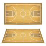 Basketball court with wooden floor. View from above and perspective, isometric view. Royalty Free Stock Image