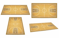 Basketball court with wooden floor. View from above and perspective, isometric view. Vector Stock Image