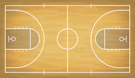 Basketball court with wooden floor. View from above Stock Images