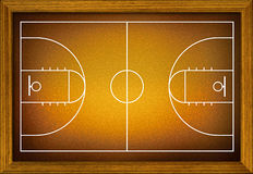 Basketball court in the wooden frame. Royalty Free Stock Photography