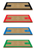 Basketball Courts in Different Colours 3D Perspect Royalty Free Stock Image