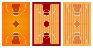 Basketball courts with different floor design Stock Photo
