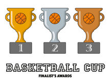 Basketball Cup Finalists Awards in Gold, Silver and Bronze. Vector Symbols Stock Photo