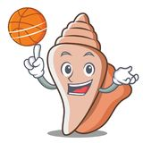 With basketball cute shell character cartoon Stock Images