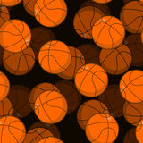 Basketball 3D seamless pattern. Sports accessory ornament. Baske. Tball volume background. Orange spherical. Texture for sports team game with ball Stock Images