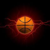 Basketball with red lightning. Basketball - 3d shining basket ball with lightning and rays over dark red background Stock Image