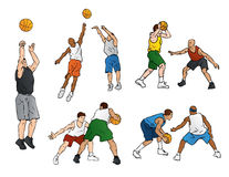 Basketball Defense & Shooting. This vector illustration shows several basketball players shooting hoops. Two athletes are shooting the ball, four men are playing stock illustration