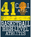 Basketball design. Illustrated sport design for basketball team with inscription basketball high-level athletes and number 41 stock illustration