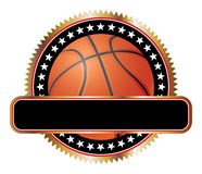 Basketball Design Emblem Stars. Illustration of a basketball design including basketball, stars and a large banner for your text. Great for t-shirts Stock Image