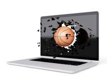 Basketball destroy laptop Royalty Free Stock Photography