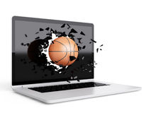 Basketball destroy laptop Stock Images
