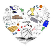 Basketball doodle, heart shape basketball concept Stock Photography