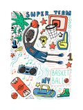 Basketball doodle style vector illustration. Poster, cover design, colorpage. Stock vector royalty free illustration
