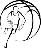 Basketball Drive to Basket with Stylized ball. Stock Photography