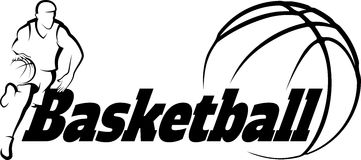 Basketball Drive to Basket with Stylized ball with word Basketba Stock Photos