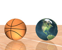 Basketball with earth. 3d basketball with earth on floor Stock Photography