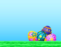 Basketball Easter Eggs in Grass Royalty Free Stock Image