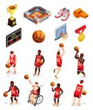 Basketball Elements Icon Set. Basketball isometric icons collection of isolated human characters of players equipment items and awards with shadows vector Stock Photo
