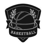 Basketball emblem.Basketball single icon in black style vector symbol stock illustration web. Royalty Free Stock Photo
