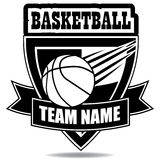 Basketball emblem insignia tee shirt Royalty Free Stock Images