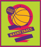 Basketball emblem with ribbon. Sports logo. Stock Image