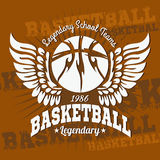 Basketball emblem for T-shirts, Posters, Banners Stock Photos