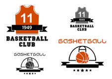 Basketball emblems with court, ball, jersey. Basketball club emblems and logo depicting basketball court with ball and uniform jersey with number 11 decorated Royalty Free Illustration