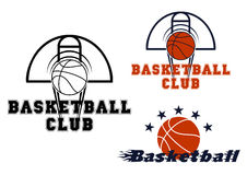Basketball emblems with game items. Basketball sport emblems with stars and flying ball with motion trails over basketball court Stock Photos