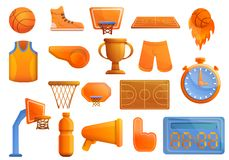 Basketball equipment icons set, cartoon style vector illustration