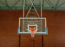 Basketball equipment on an indoor court Stock Image