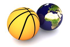 Basketball Europe. A Colourful 3d Rendered Basketball Europe Concept Illustration Stock Image
