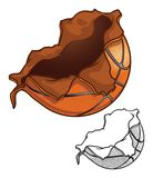 Basketball Exploding Basketball with Realistic Dimples stock illustration