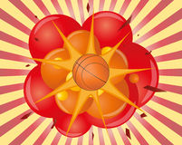 Basketball explosion. Illustration of an basket ball with explosion Royalty Free Stock Photos