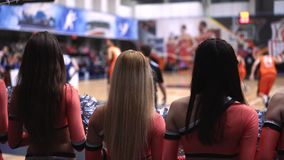 Basketball by eyes of girls from support group stock video footage