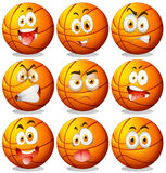 Basketball with facial expressions Royalty Free Stock Photos