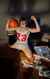 Basketball Fan Watching Television. Nerdy excited basketball fans watching television celebrating the victory royalty free stock photography