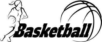 Basketball Female Driving to Basket with Stylized ball with word Stock Image
