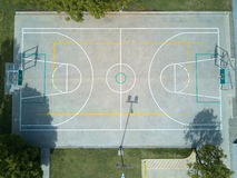 Basketball field aerial view. On day time. Sport court above view from drone Stock Photo