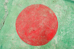 Basketball field background. Circle red on green backgroud stock photo