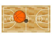 Basketball field and ball. Game of basketball. Orange ball high.  Stock Photography