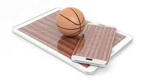 Basketball field with ball on smartphone edge and tablet display Stock Image