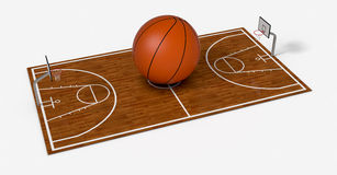 Basketball field. With a big ball on white background (3d render Royalty Free Stock Images