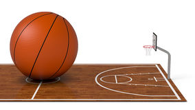 Basketball field. Close-up view of a basketball field with a big ball on white background (3d render Royalty Free Stock Photos