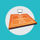 Basketball field flat design vector Stock Photos