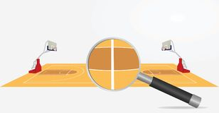 Basketball football field and magnifying glass. Basketball field and magnifying glass. search or analysis concept. vector illustration Royalty Free Stock Photo