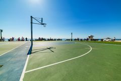 Basketball field by the sea in Laguna Beach. California Royalty Free Stock Photos