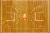Basketball field texture with real wood. Stock Images