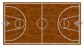 Basketball field. Top view of a basketball field on white background (3d render Stock Photos