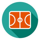 Basketball field vector icon, sports field icon, sports field symbol. Modern, flat long shadow vector icon for royalty free illustration